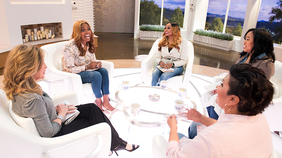 Laurie Crouch, Dr. DeeDee Freeman, Brittney Borders, Chrystal Evans Hurst, and Dianna Nepstad on Better Together set