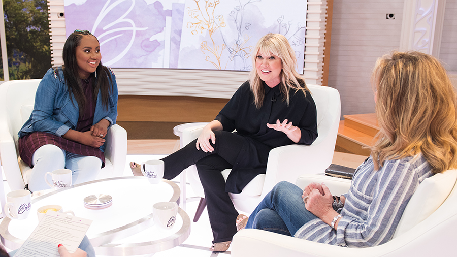 Jamie Grace, Natalie Grant, and Laurie Crouch on Better Together set